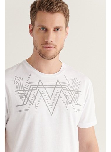Avva Erkek Bisiklet Yaka Baskılı T-Shirt A11Y1156 Beyaz